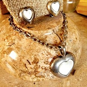 3/$50 SHELL MOP heart clip Earrings Necklace set